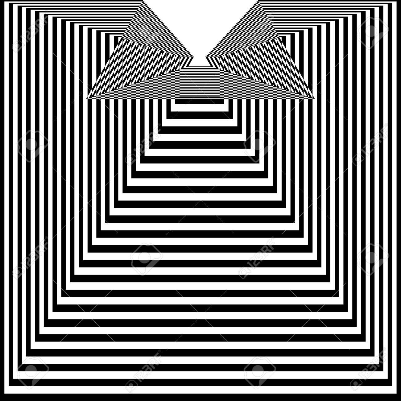 Abstract black and white striped background. Geometric pattern with visual distortion effect. Optical illusion. Op art. - 117017100