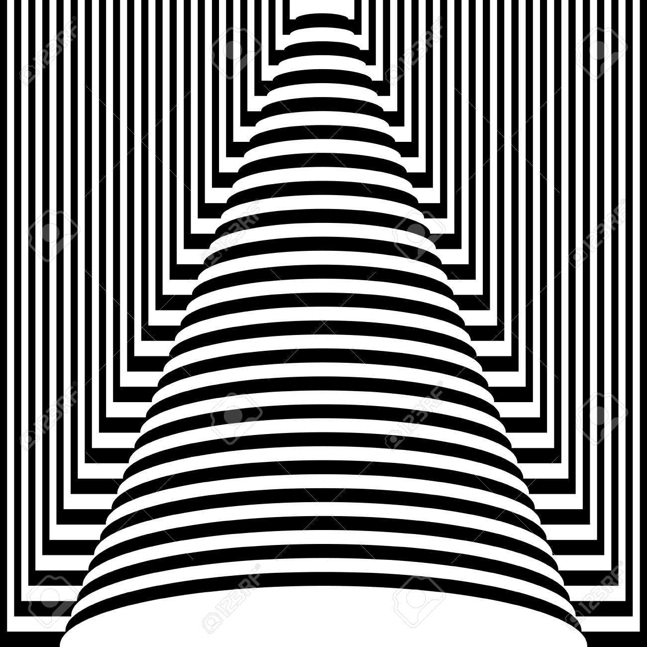 Abstract black and white striped background. Geometric pattern with visual distortion effect. Optical illusion. Op art. - 117017101