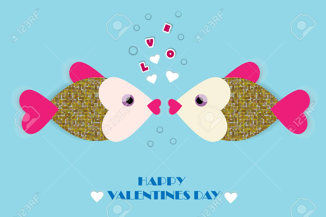 Kissing fish.Vector greeting card with paper cut fish and hearts. Romantic background for Valentine's Day and wedding invitations. - 117017314