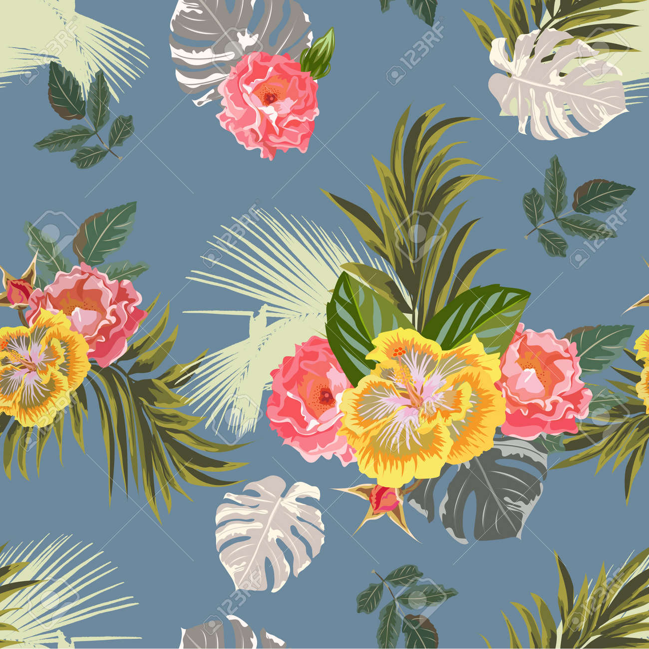 Tropical seamless floral pattern with hibiscus, roses and exotic leaves. Floral background for printing on fabric, clothing, home textiles, wallpaper, gift wrapping. - 156329610