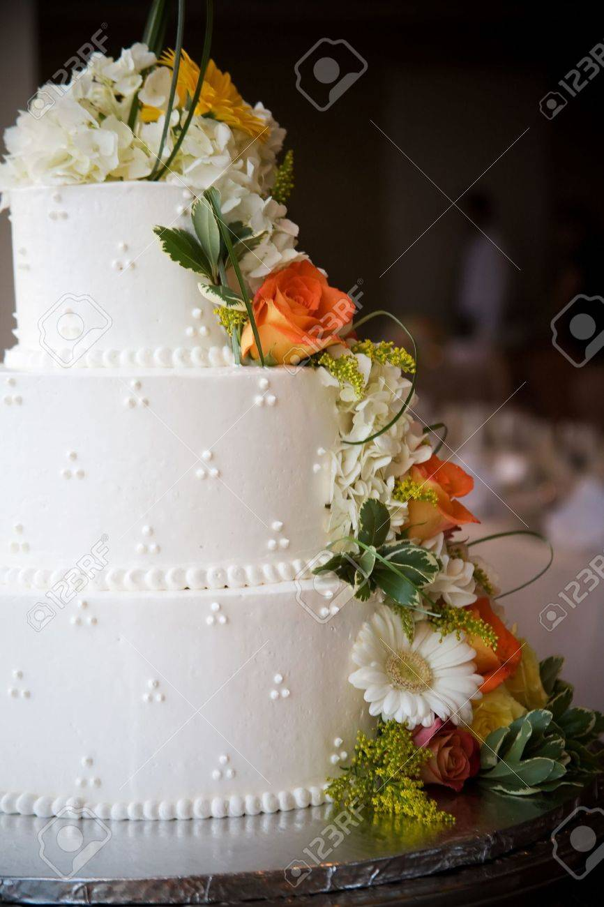 Wedding Cake With Flowers Shallow Depth Of Field