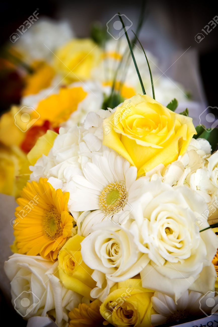 Wedding Bouquet Of Mixed Flower Arrangement With Yellow And White ...