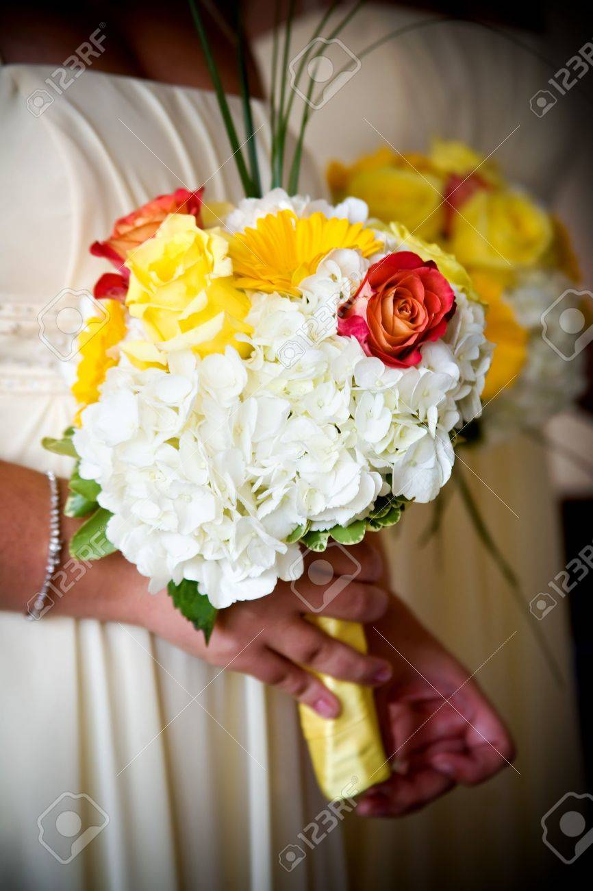 Wedding Bouquet Of Mixed Flower Arrangement With Yellow And White