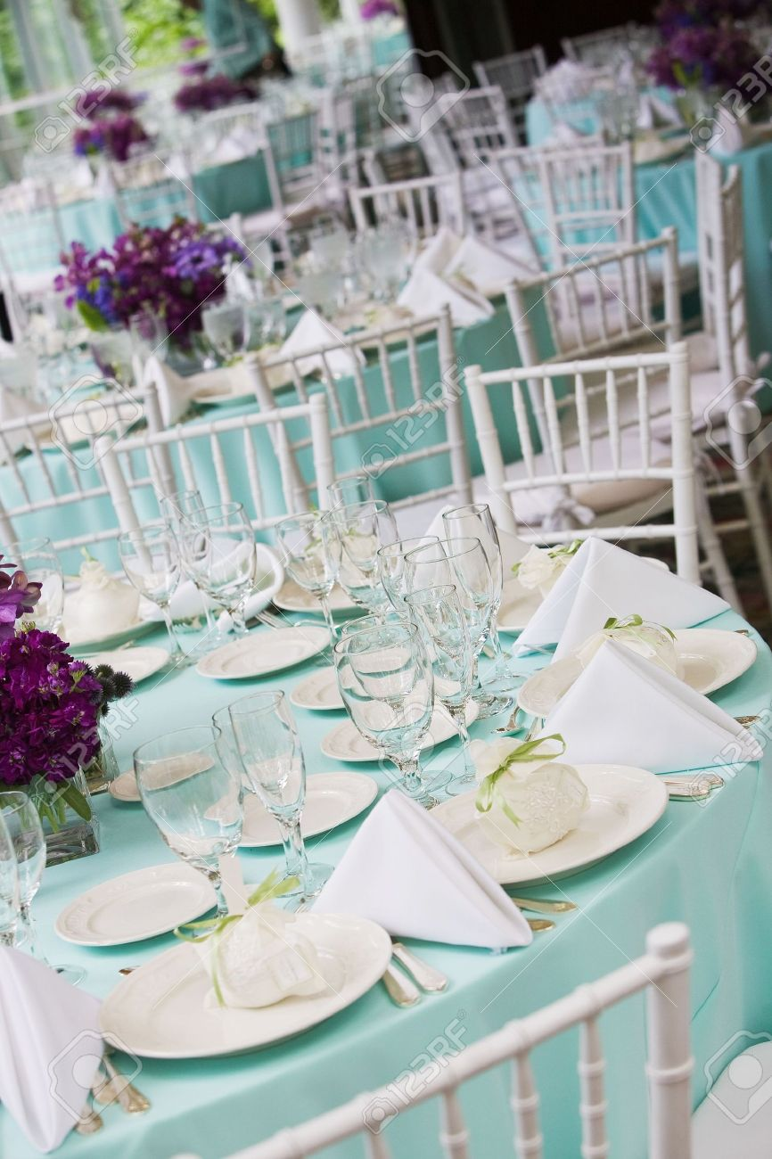 Fancy Table Settings During A Wedding Or Special Event Stock Photo   4013119