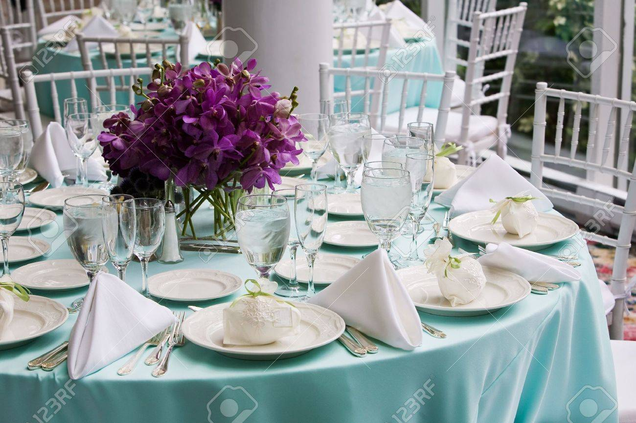 Fancy Table Settings During A Wedding Or Special Event Stock Photo   4013121