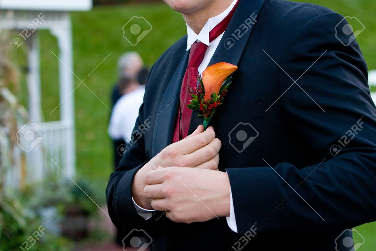 a groom at a wedding, detail of his flower corsage Stock Photo - 12820624