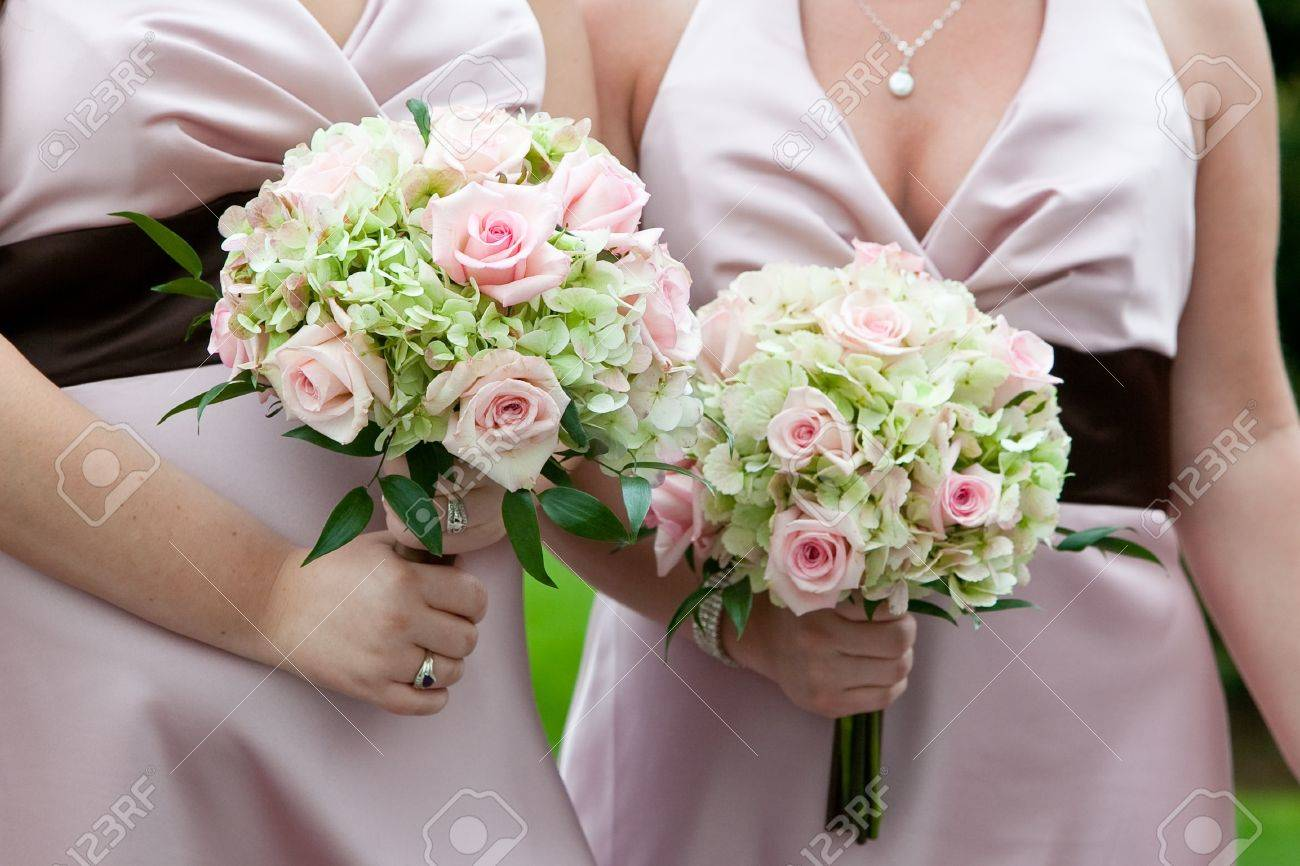 Bridal Wedding Bouquet Of Flowers In White Pink And Green Stock