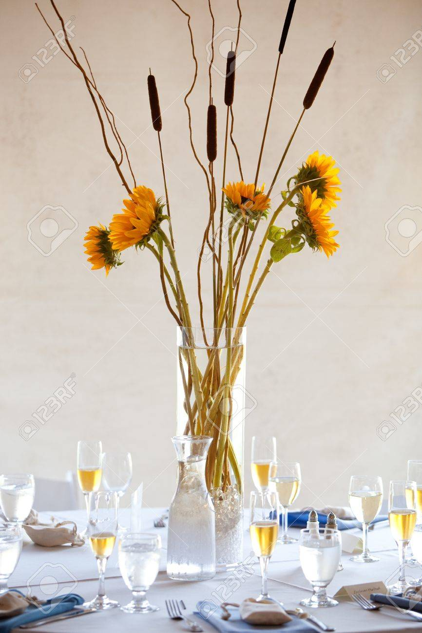 A Large Wedding Table Centerpiece With A Sunflower Bouquet Stock ...