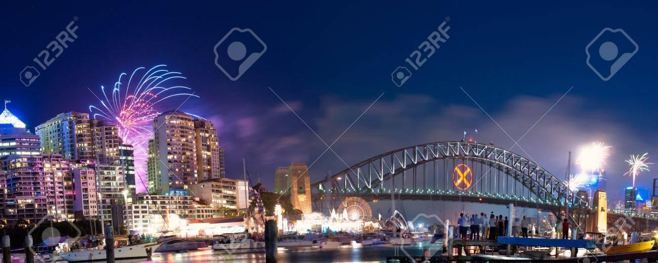 World Renown Sydney Harbour NYE Fireworks Display Panorama Stock Photo - 12042753