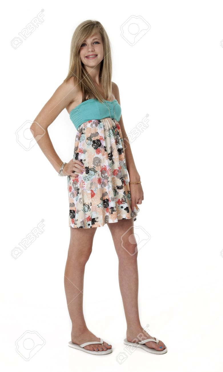 2b5ed211b4317 14 year old girl in summer dress on white background Stock Photo - 18999783
