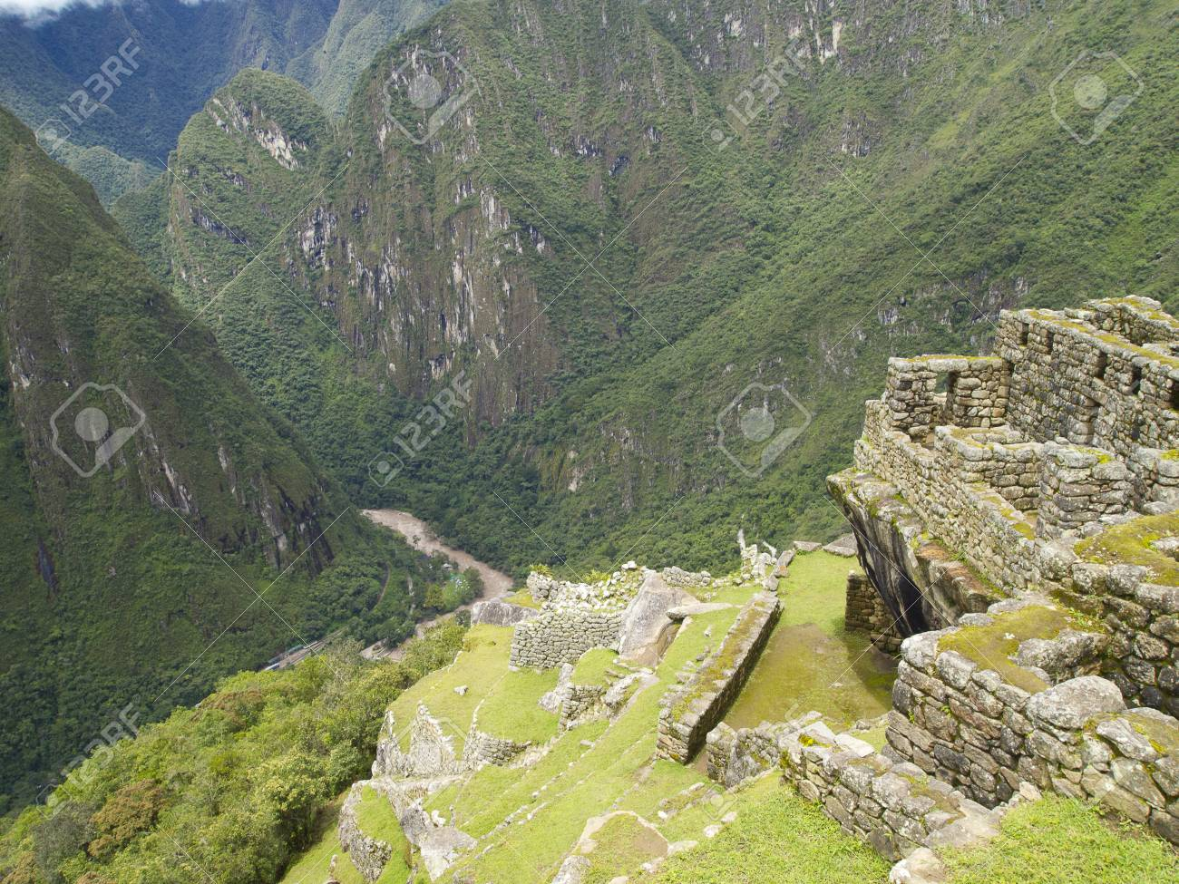 Los Cultivos En Terrazas En El Sector Agrícola Superior Del Machu Picchu En El Valle Del Río Urubamba Cusco Perú