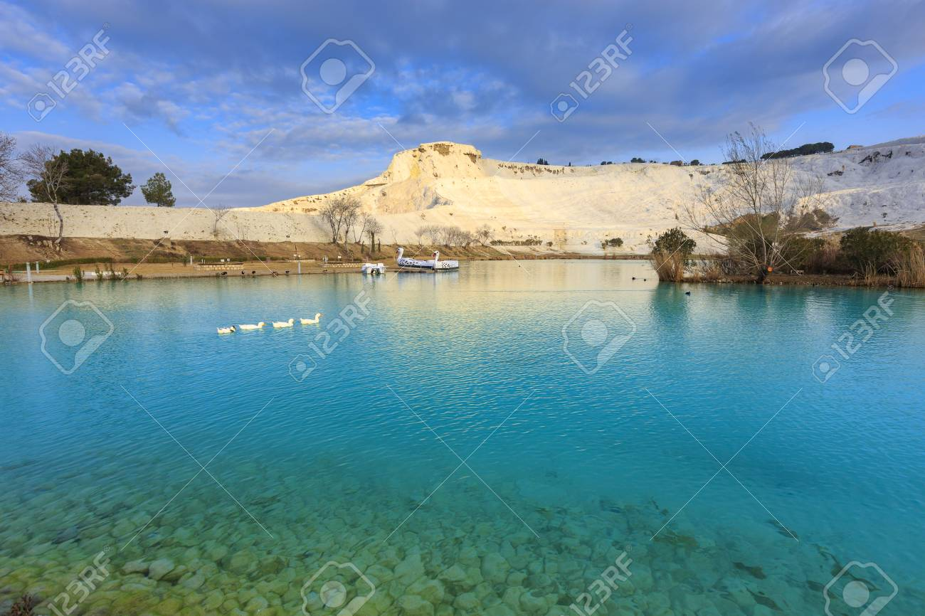 Cleared Water Lake In Morning With Calcified Limestone Terraces ...