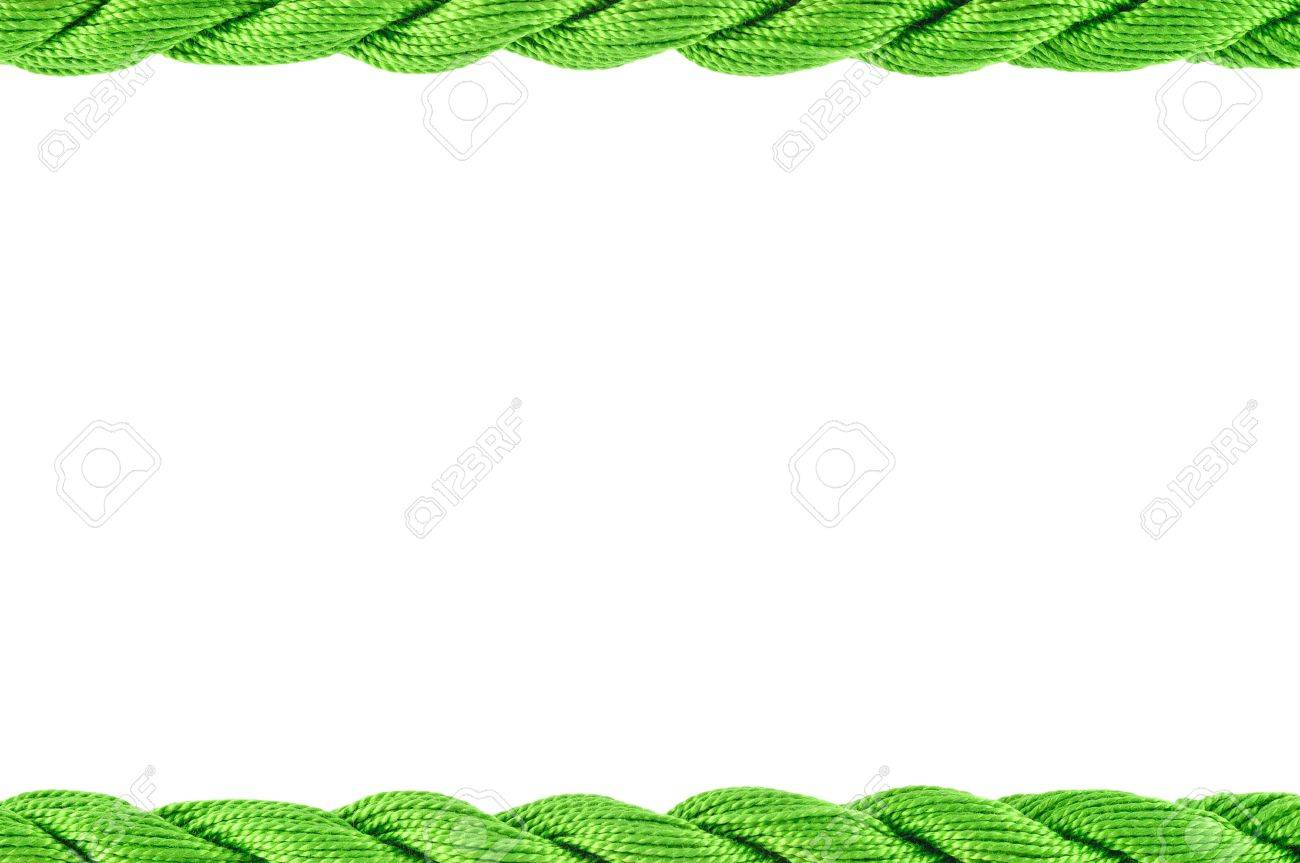 stock photo frame of cotton craft thread green color