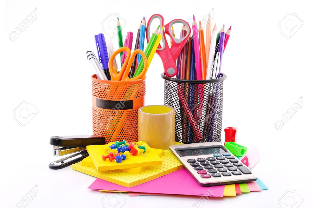 Office Tools On A White Background Stock Photo, Picture And ...