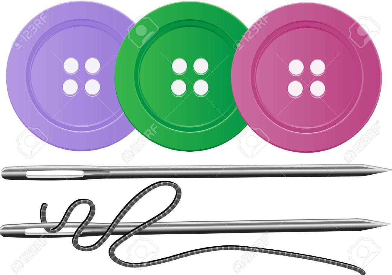 Needle And Thred And Three Buttons, All Editable Royalty Free ...