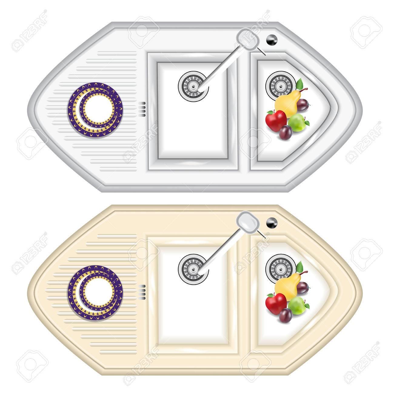 Die Küchenspüle Ist Aus Metall Und Stein. Küchenspüle Mit ...