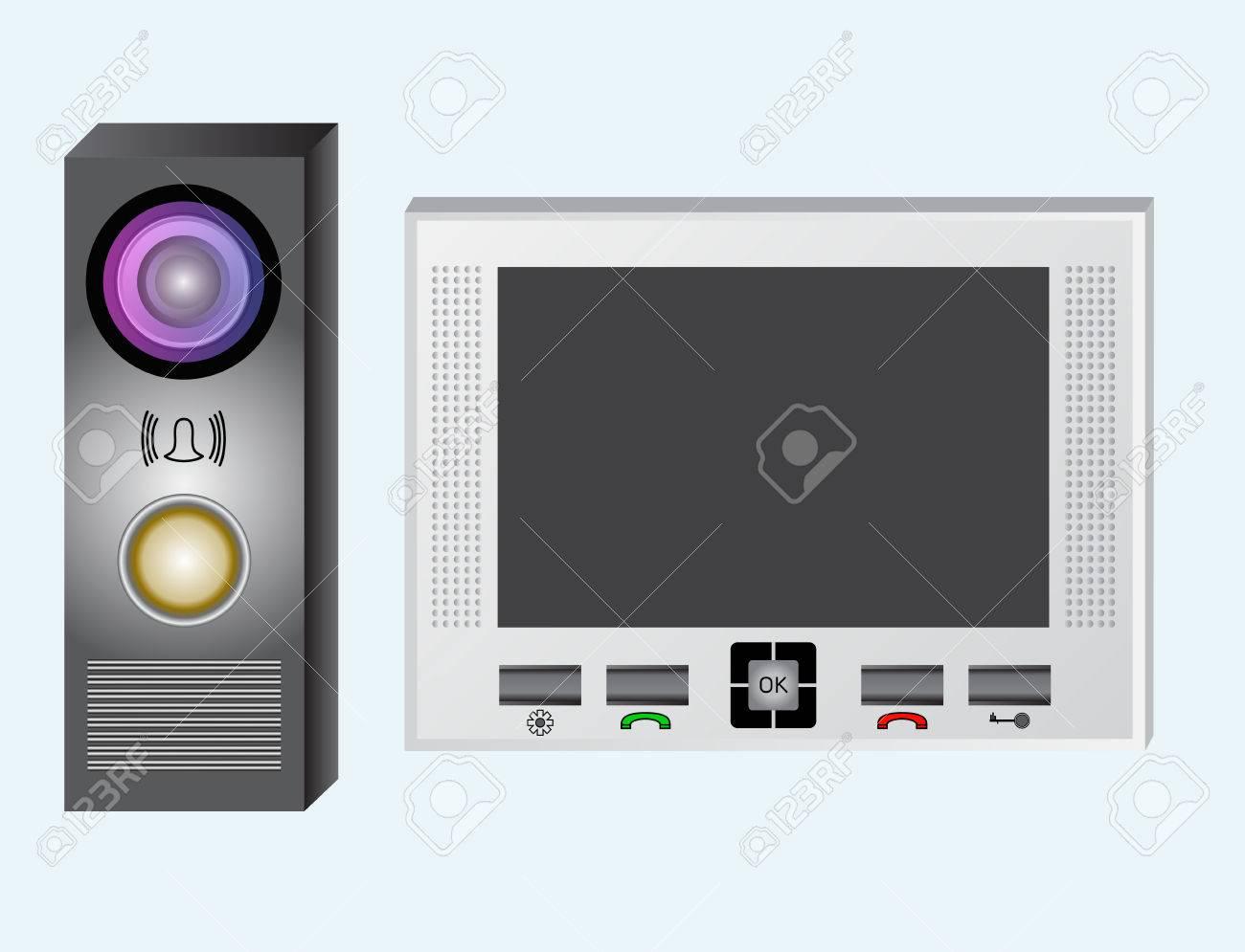 gegensprechanlage. video-gegensprechanlage. der monitor und die