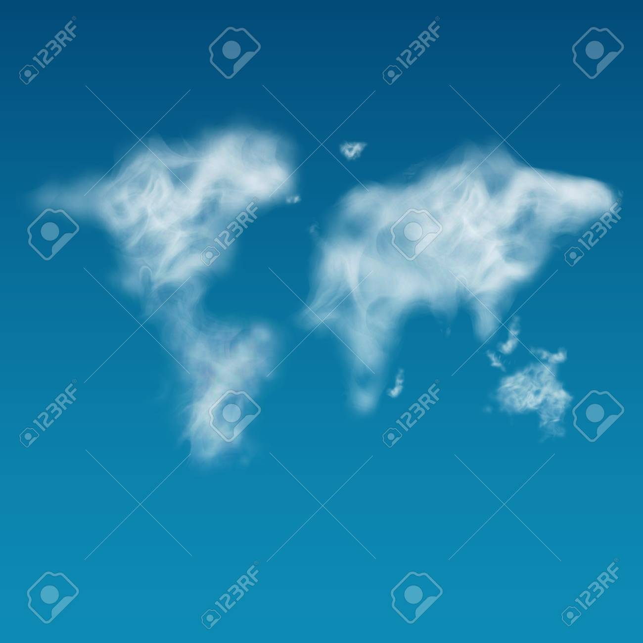 Unshaped Cloudy World Map On The Clear Blue Sky Realistic Steam