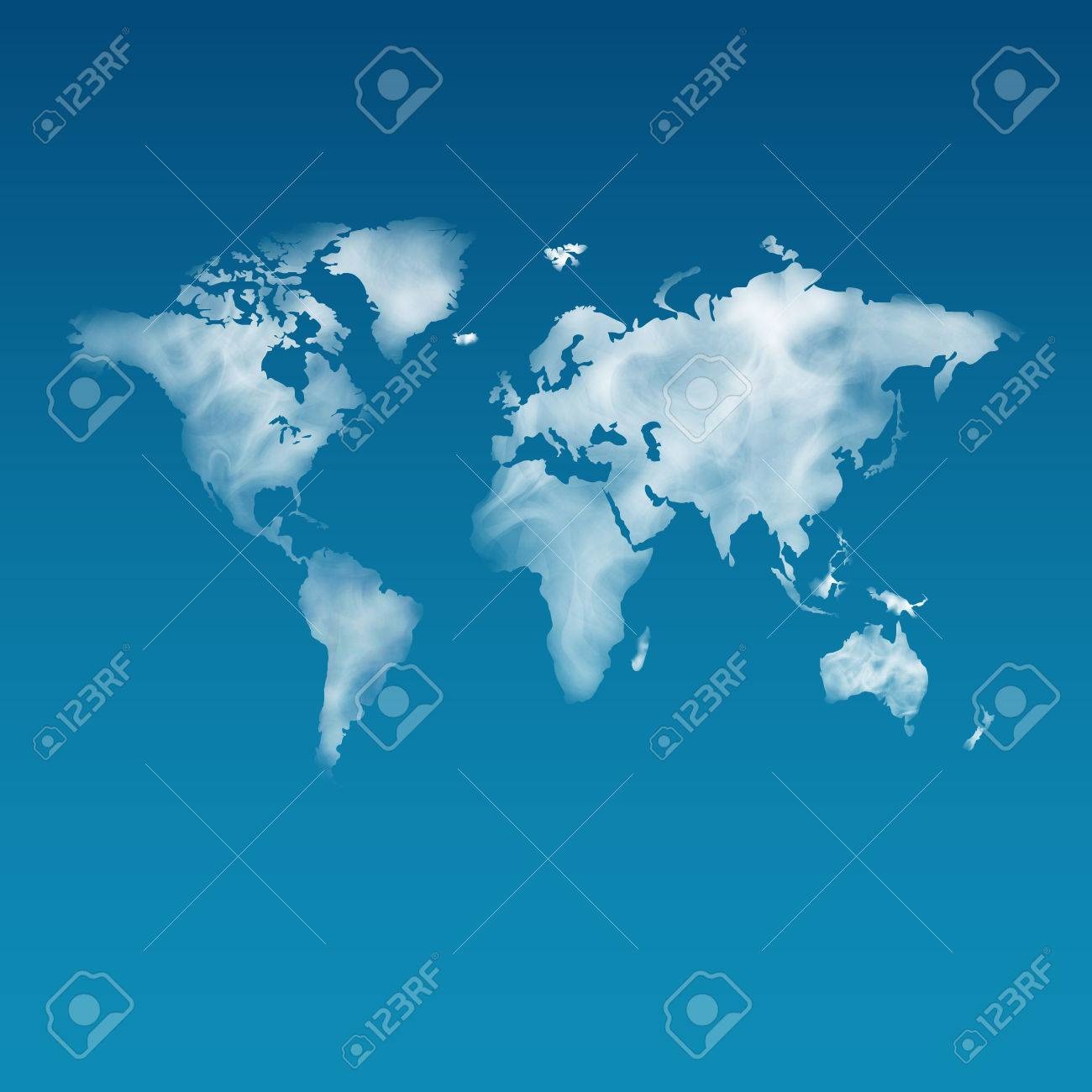 Unshaped cloudy world map on the clear blue sky realistic steam unshaped cloudy world map on the clear blue sky realistic steam smoke gumiabroncs Choice Image