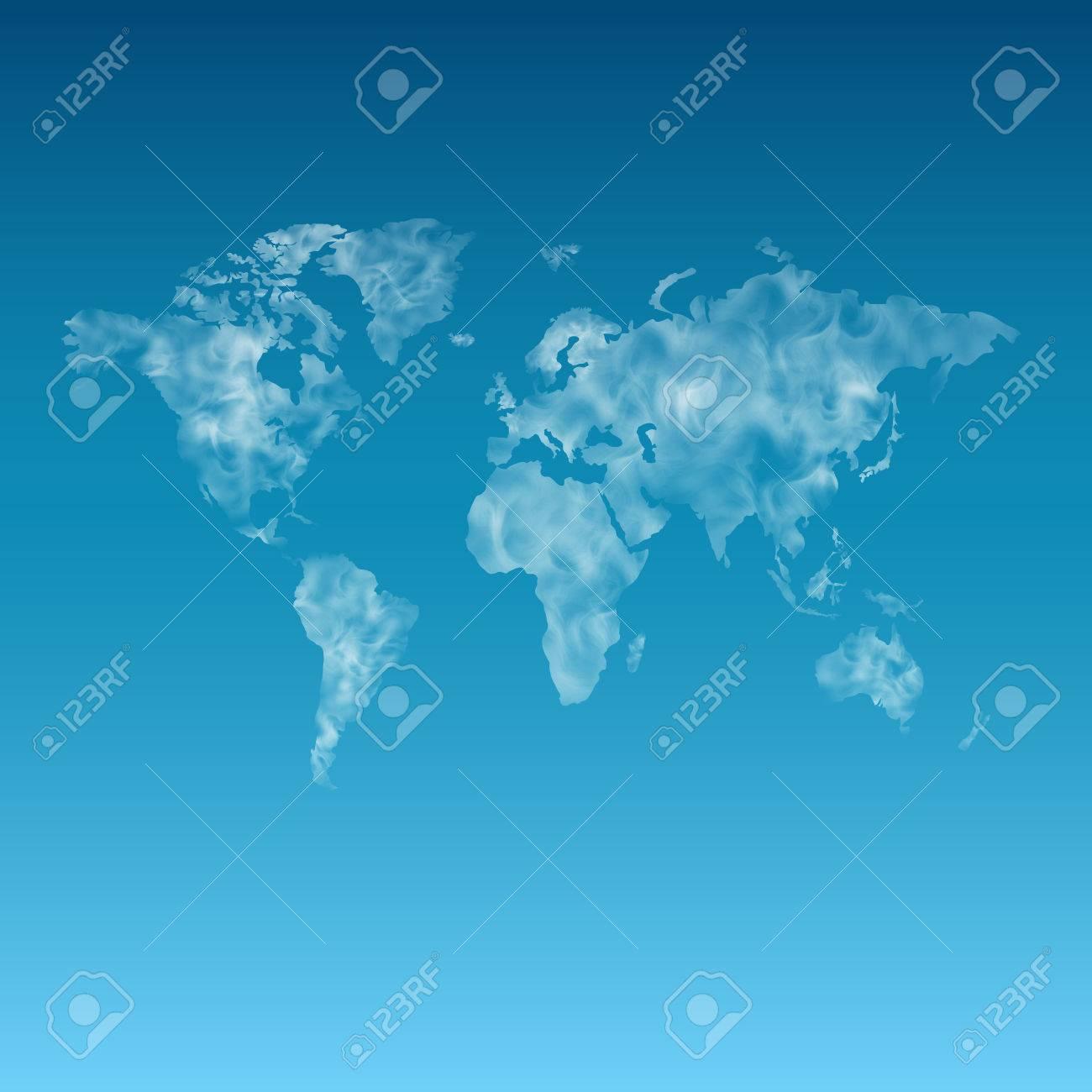 Carte Du Monde Realiste.Unshaped Carte Du Monde Nuageux Sur Le Ciel Bleu Clair Realiste