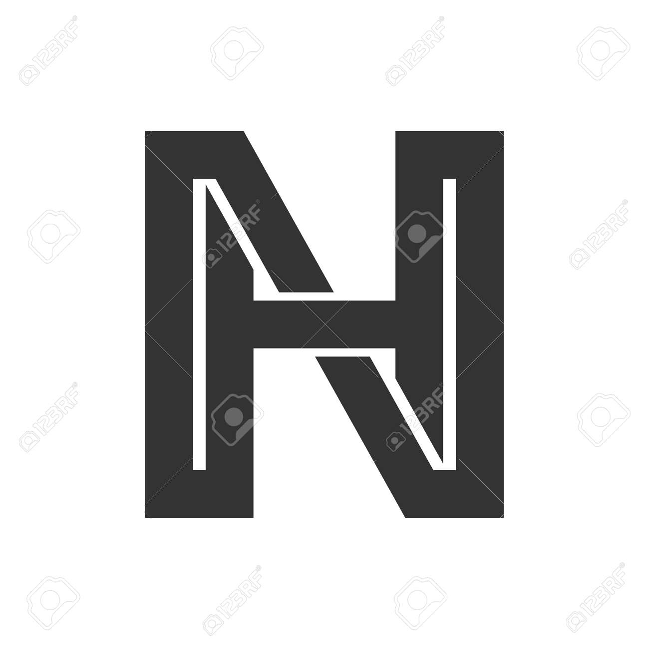 Creative abstract letter hn design. Linked letter nh design. - 165402685