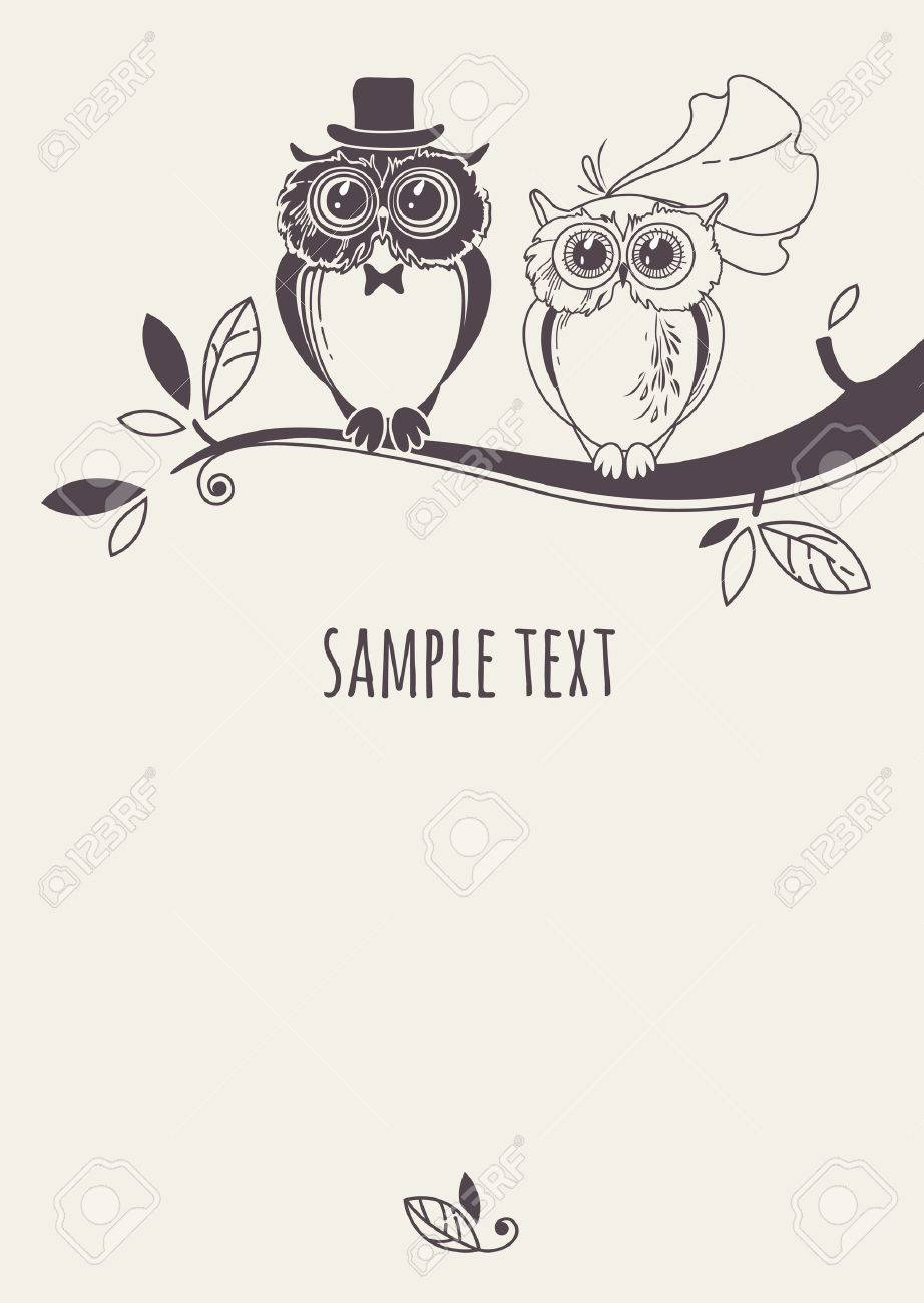 Template card with a couple of owls on a tree branch. Greeting card. Wedding invitation. - 44246780