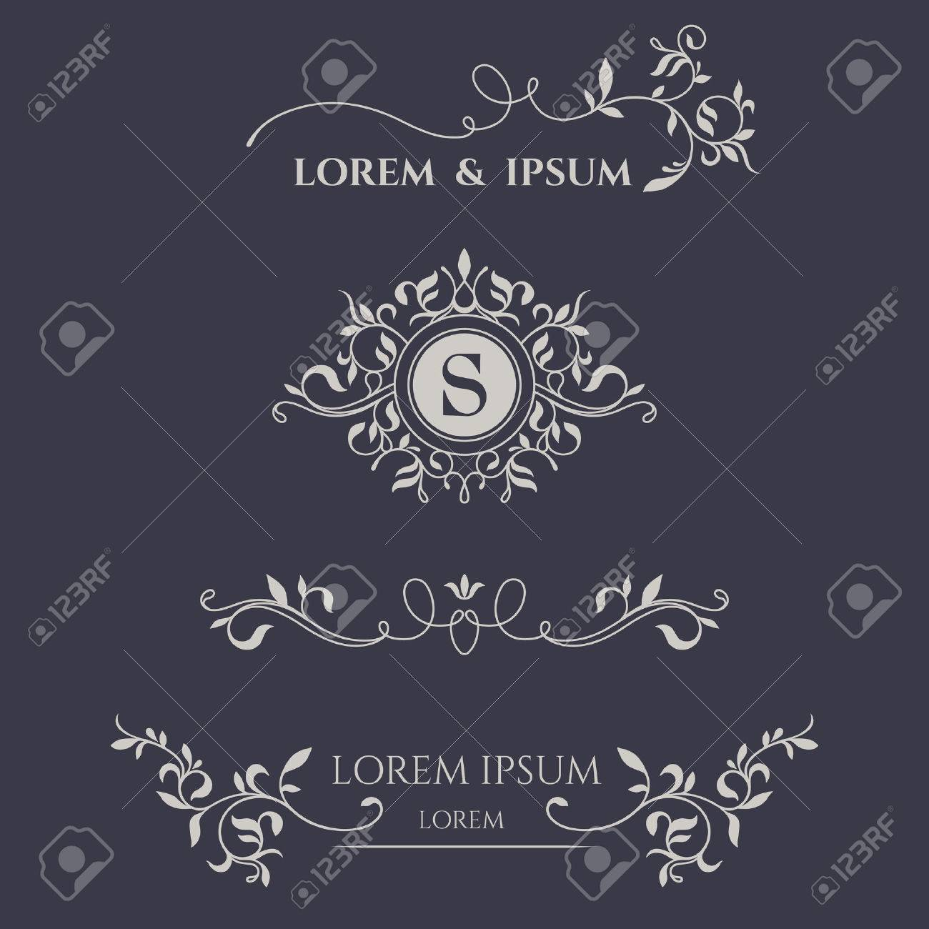 Decorative frame, monogram, border. Template signage, labels, stickers, cards. Graphic design page. - 44264506