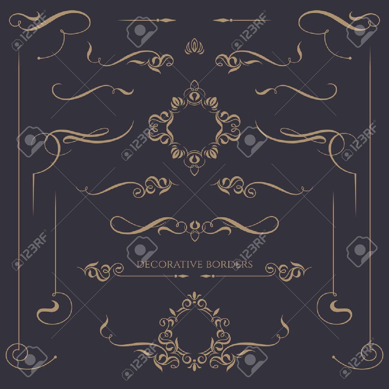 Decorative monograms and calligraphic borders. Template signage, labels, stickers, cards. Graphic design page. Classic design elements for wedding invitations. - 44264537