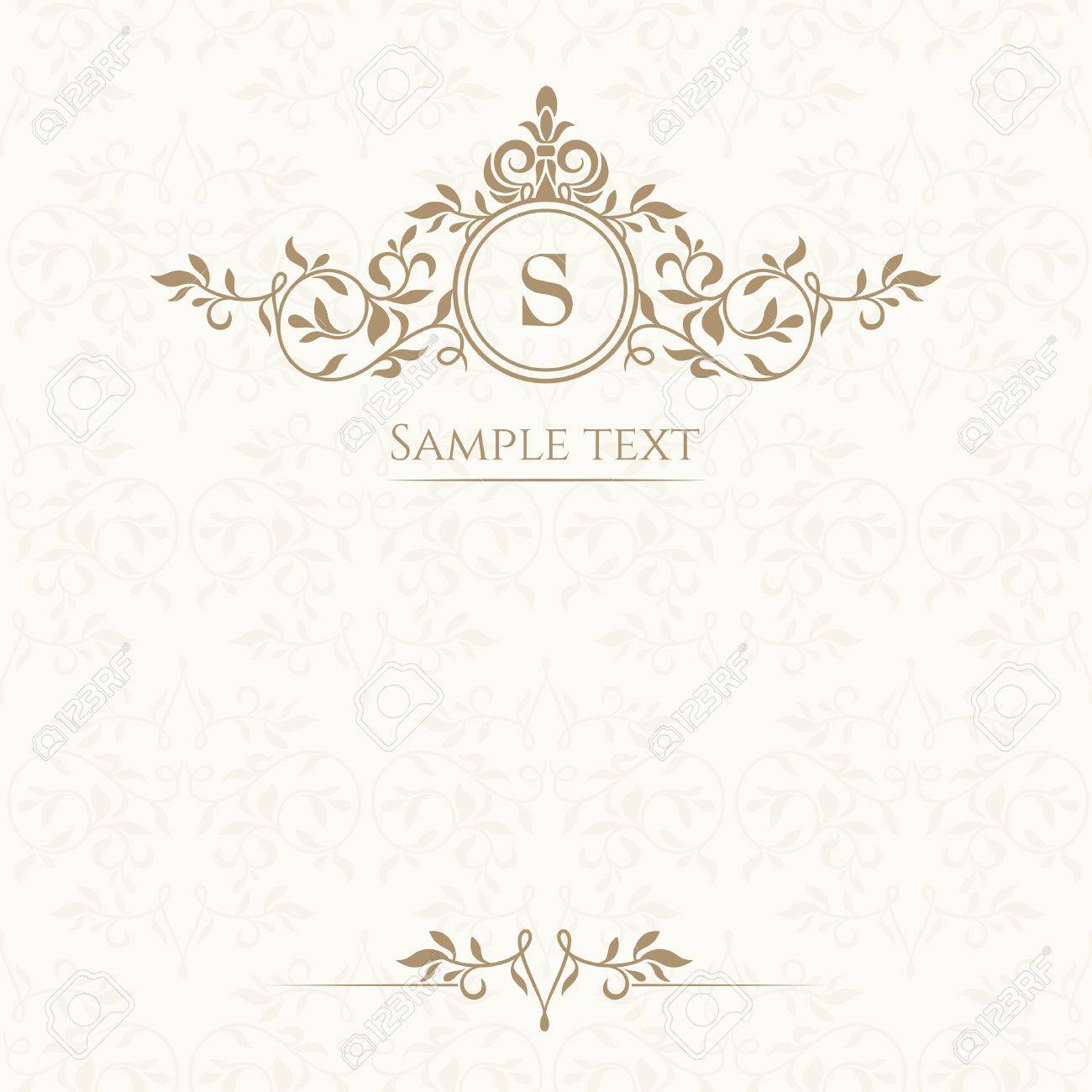 Monogram, border and classic seamless pattern. Template for greeting cards, invitations, menus, labels. Graphic design page. - 44264542