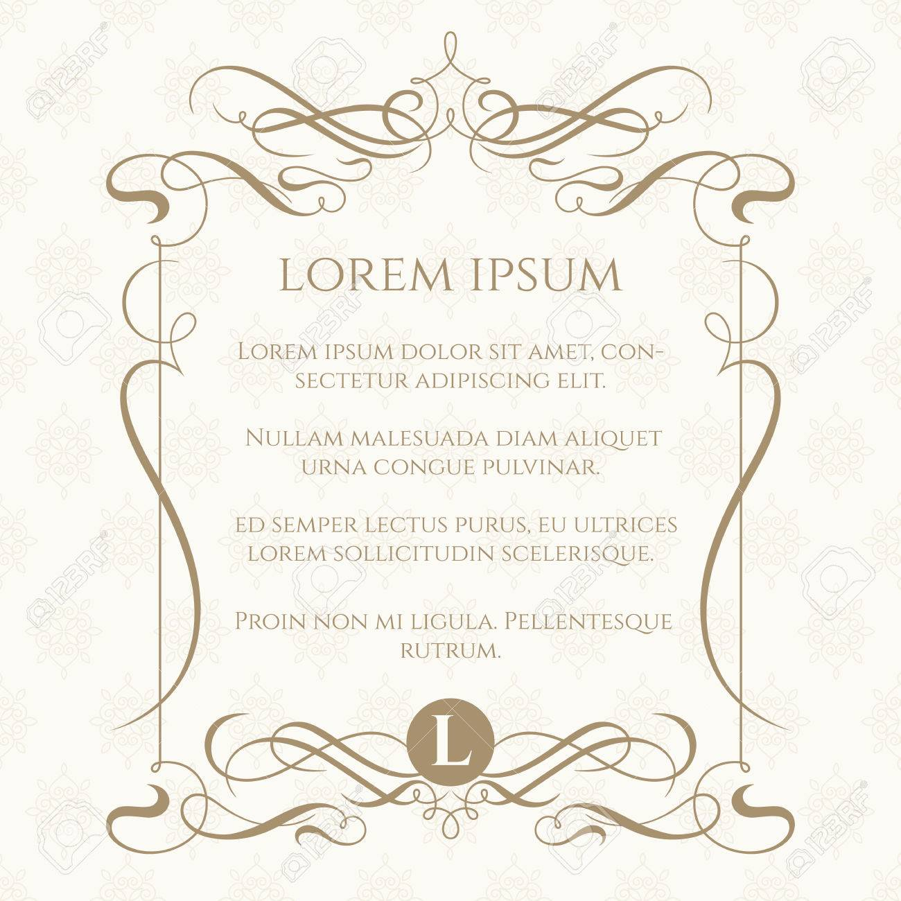 Monogram, caligraphic frame and classic seamless pattern. Template for greeting cards, invitations, menus, labels. Graphic design page. Wedding invitation. - 49870738