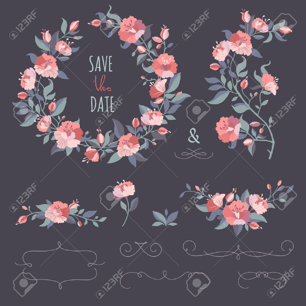 Collection of floral wreaths, twigs, border. Set of hand-drawing calligraphic borders. Decorative elements for design invitation, cards. Floral vector graphic. - 49870892