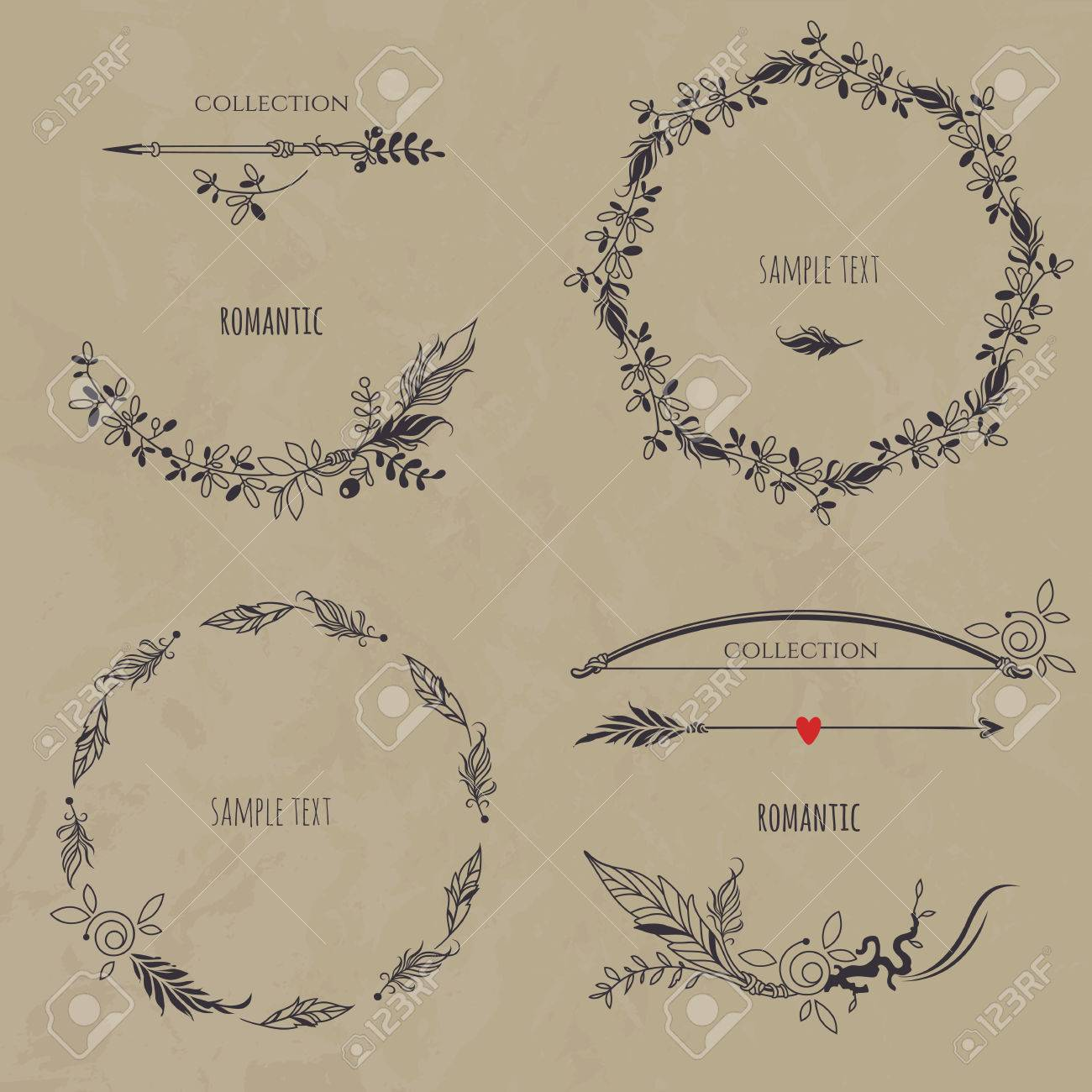Of Wreaths Romantic Floral Set On Texture Background Collection Of Wreaths