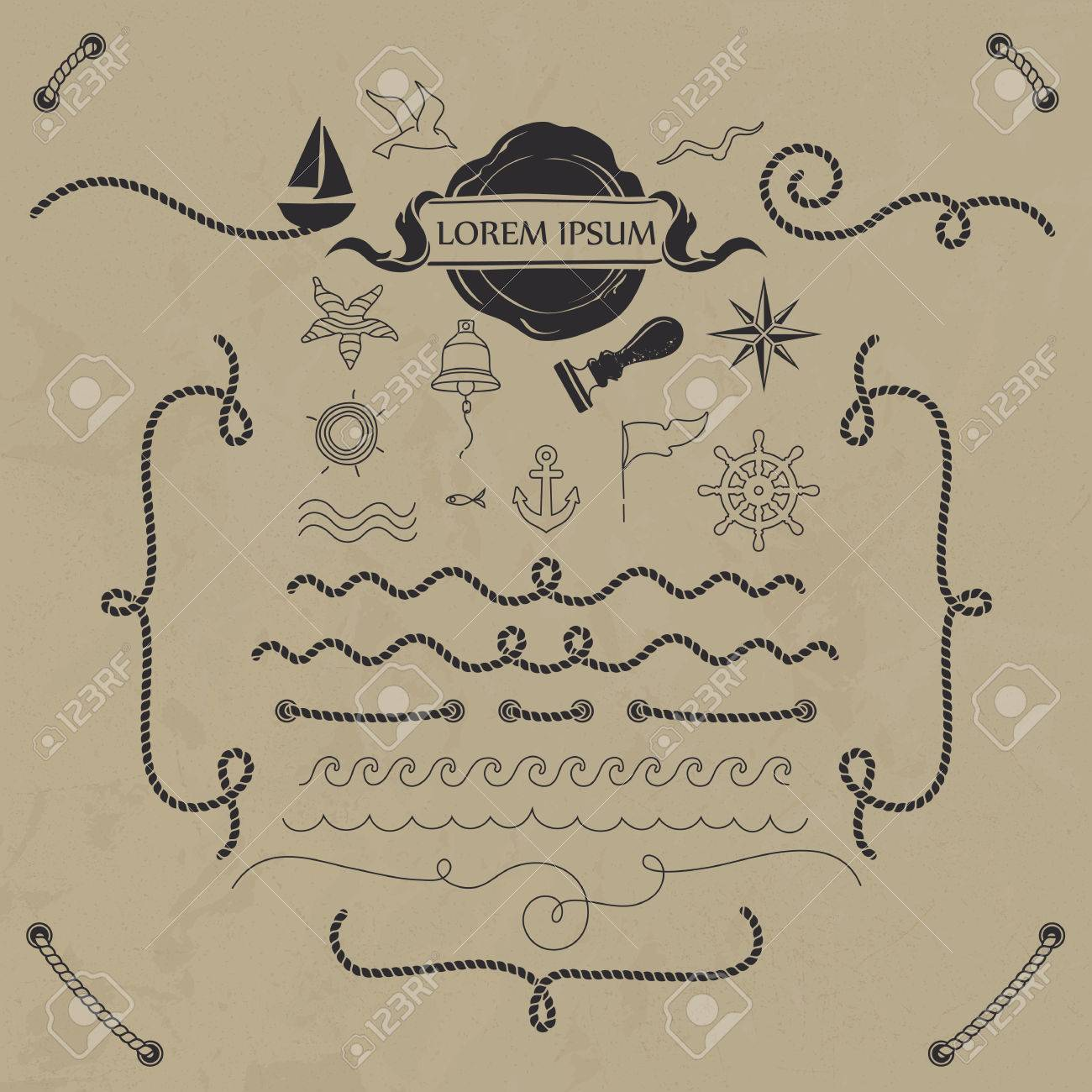Vector set nautical elements. Hand drawn objects and rope borders. - 49870894