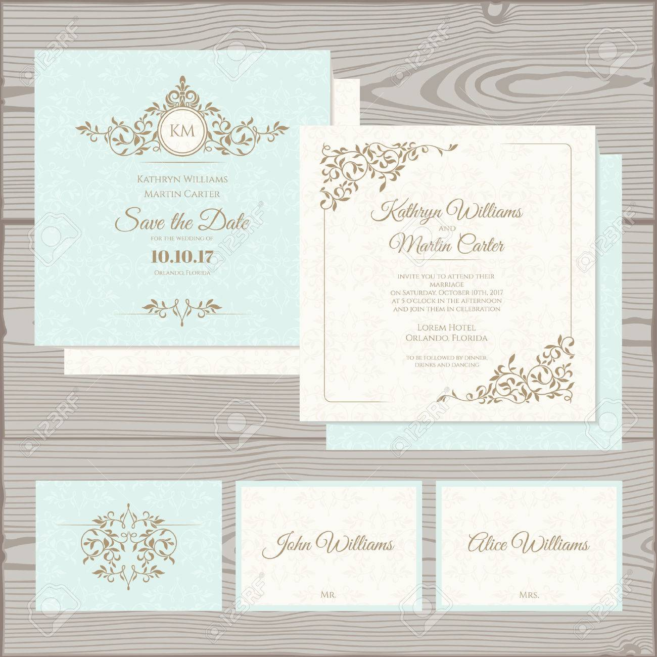 Wedding invitation, save the date card, place card. Stock Vector - 50020819