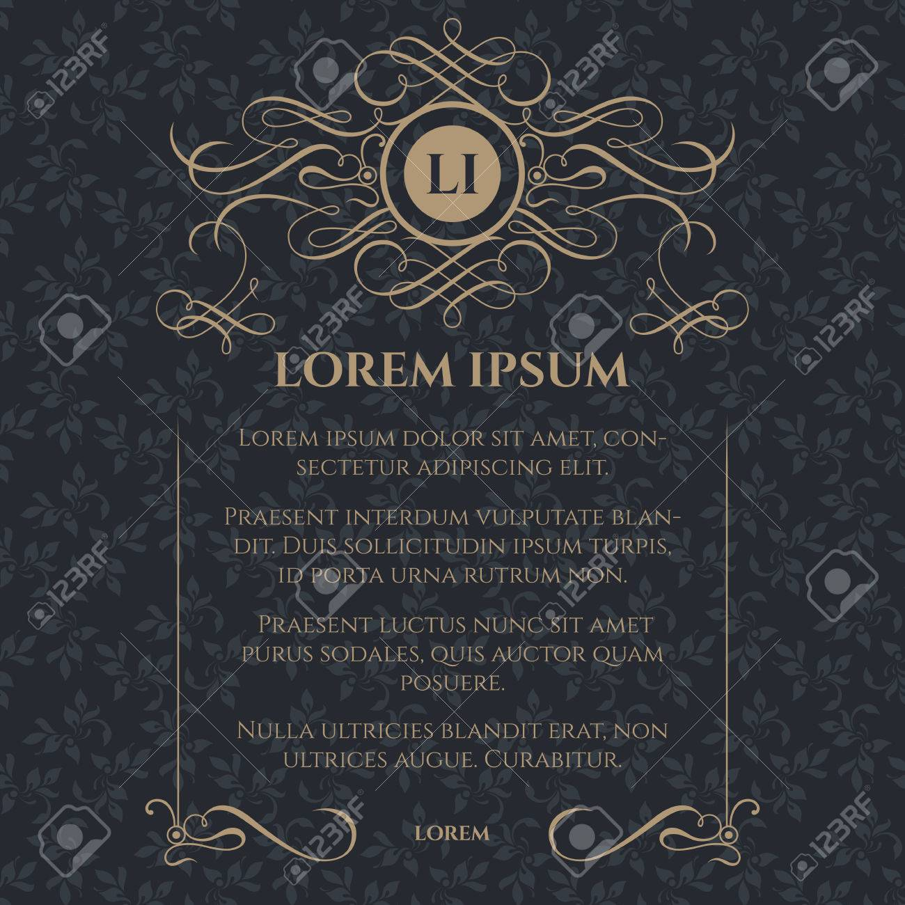 Classic monogram, caligraphic frame and seamless pattern. - 50021302