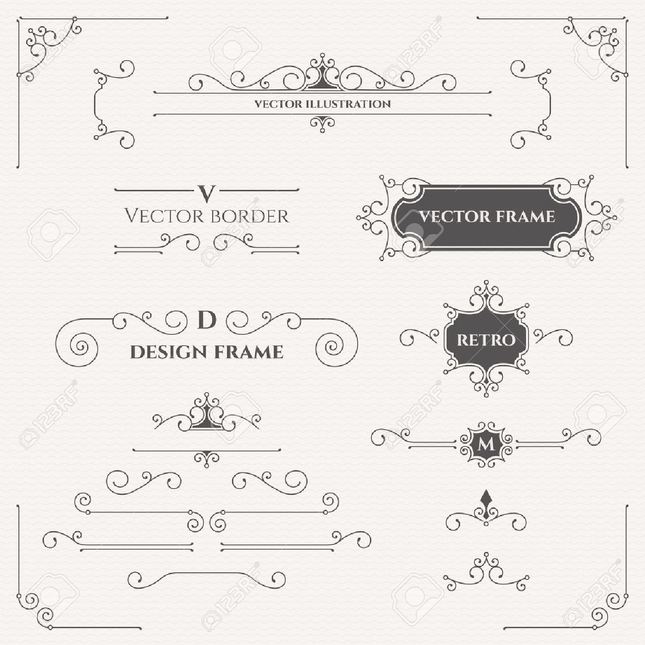 Set of decorative monograms, borders, frames, corners. - 50021437