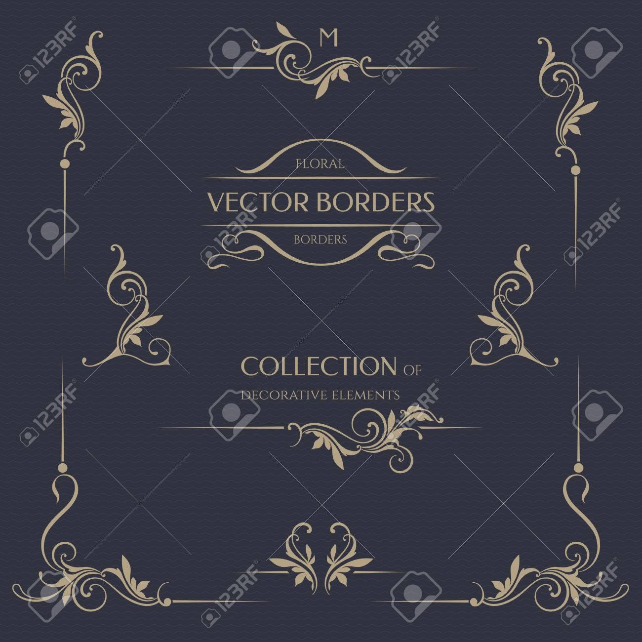 Set of decorative borders, corners. - 50021516