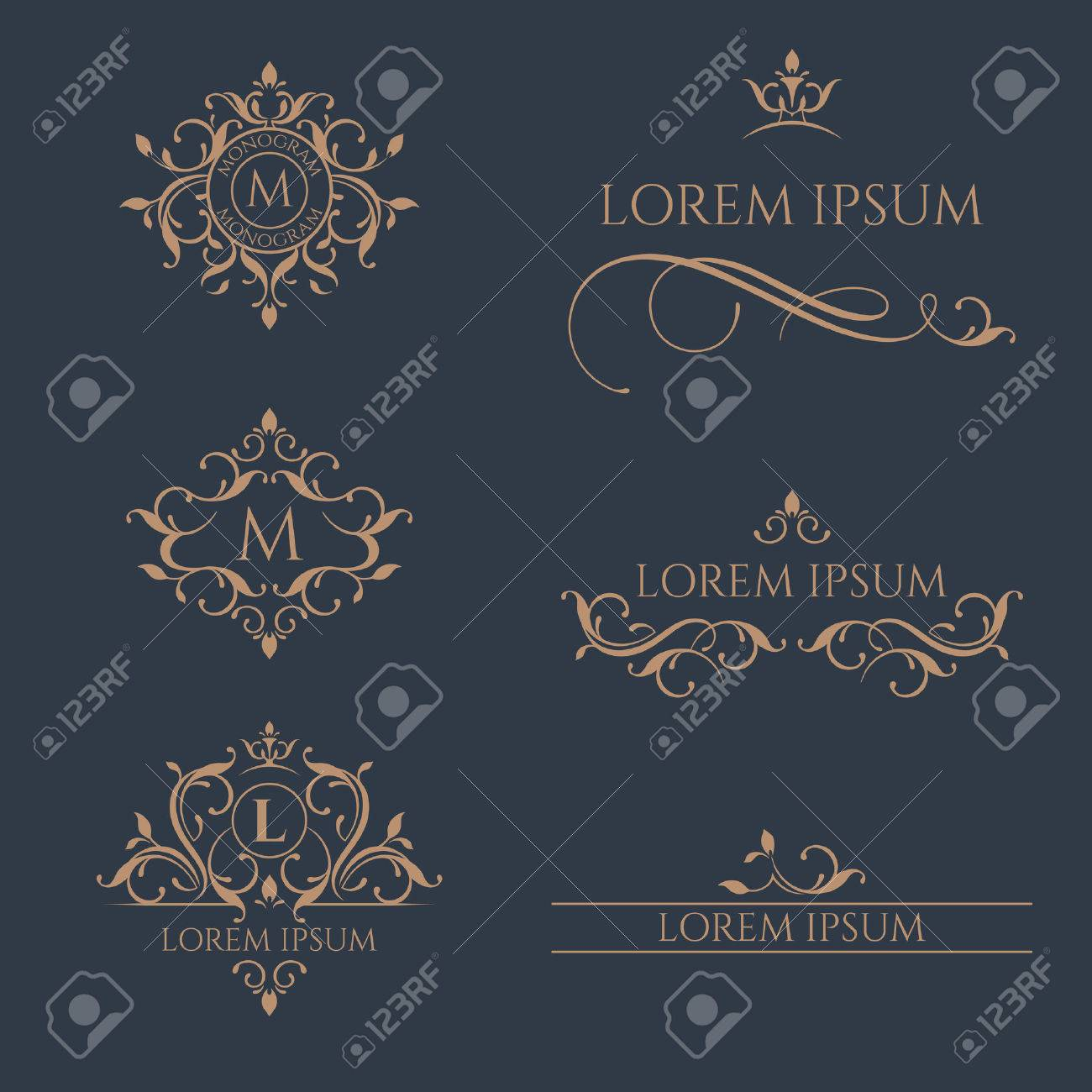 Floral monograms and borders, frames for cards, invitations, menus, labels. - 50021772