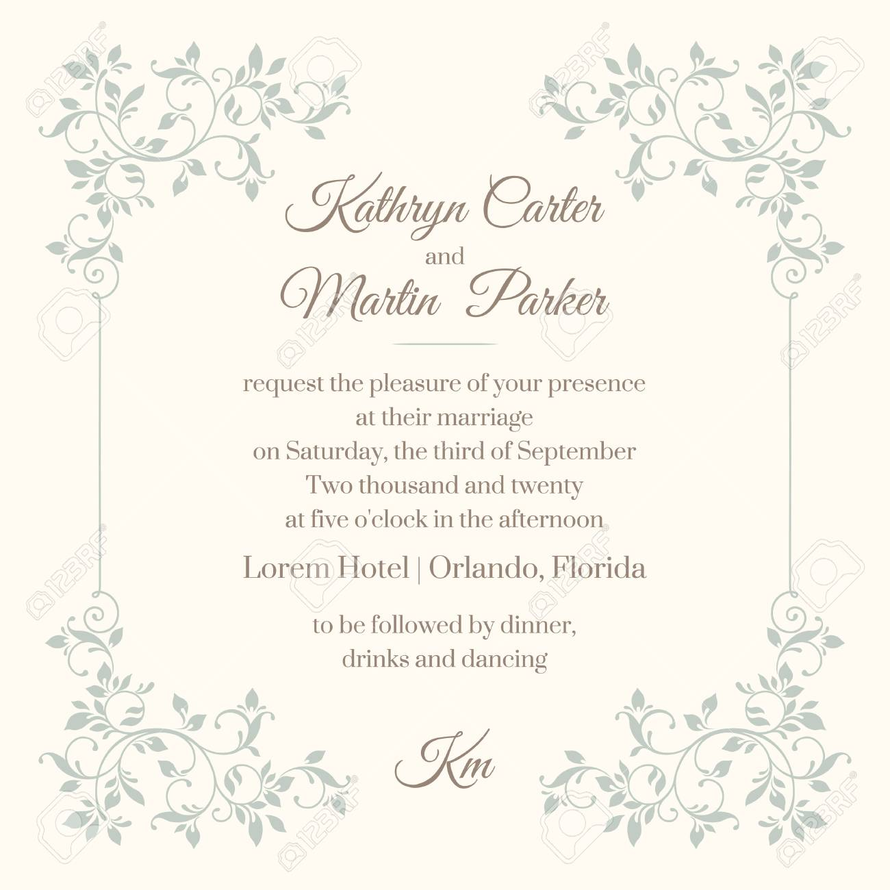 Floral frame Template for greeting cards, invitations, menus. - 50021804