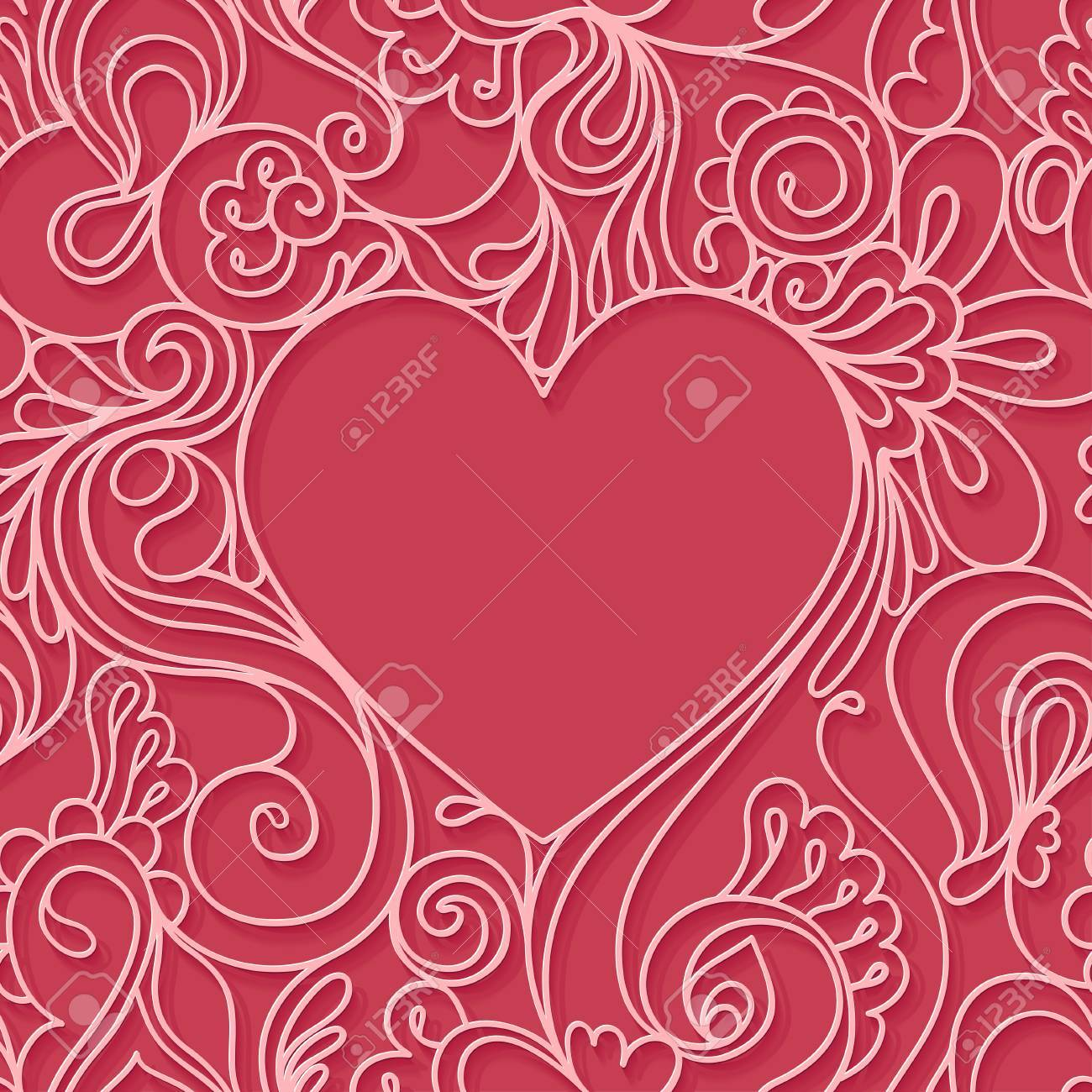 Heart frame on a red background. - 50021827