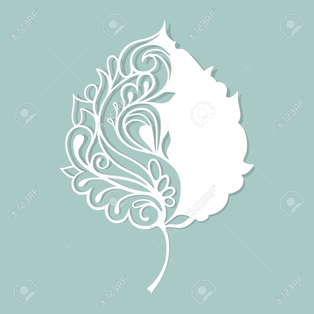 White leaf made of paper. Stylized skeleton leaf. - 50021830