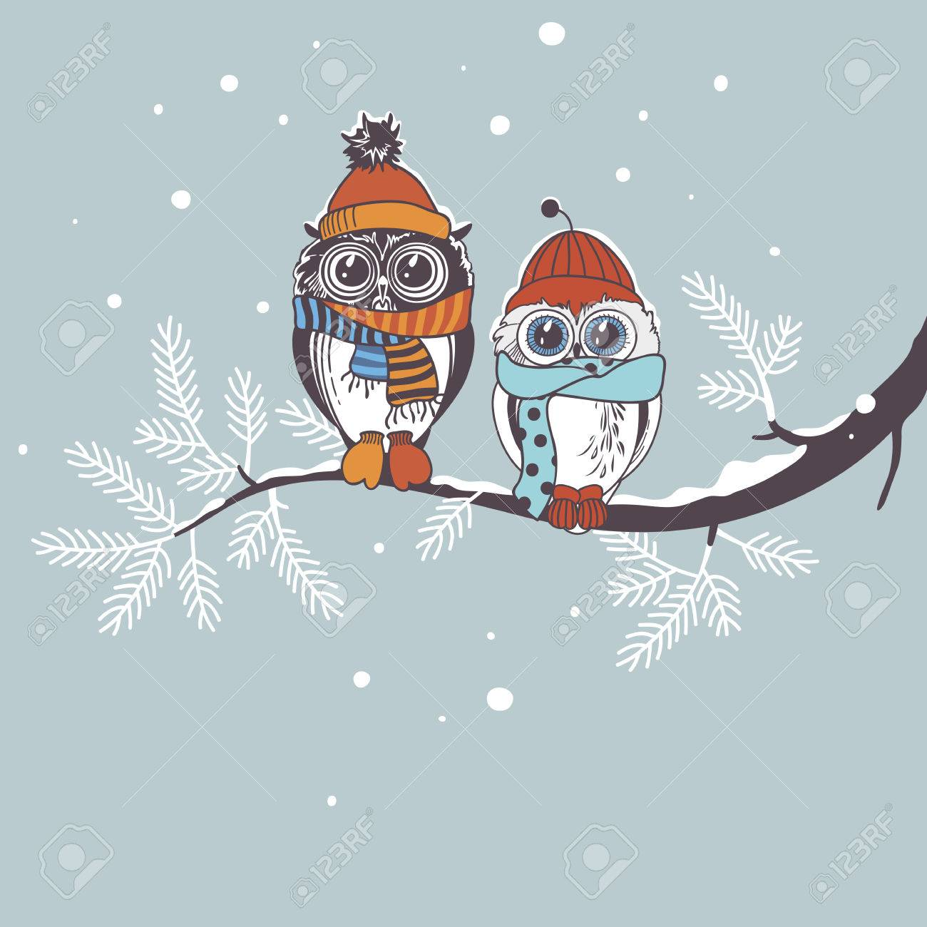 Template card with owls on branch greeting card for winter holidays template card with owls on branch greeting card for winter holidays drawing owl couple m4hsunfo