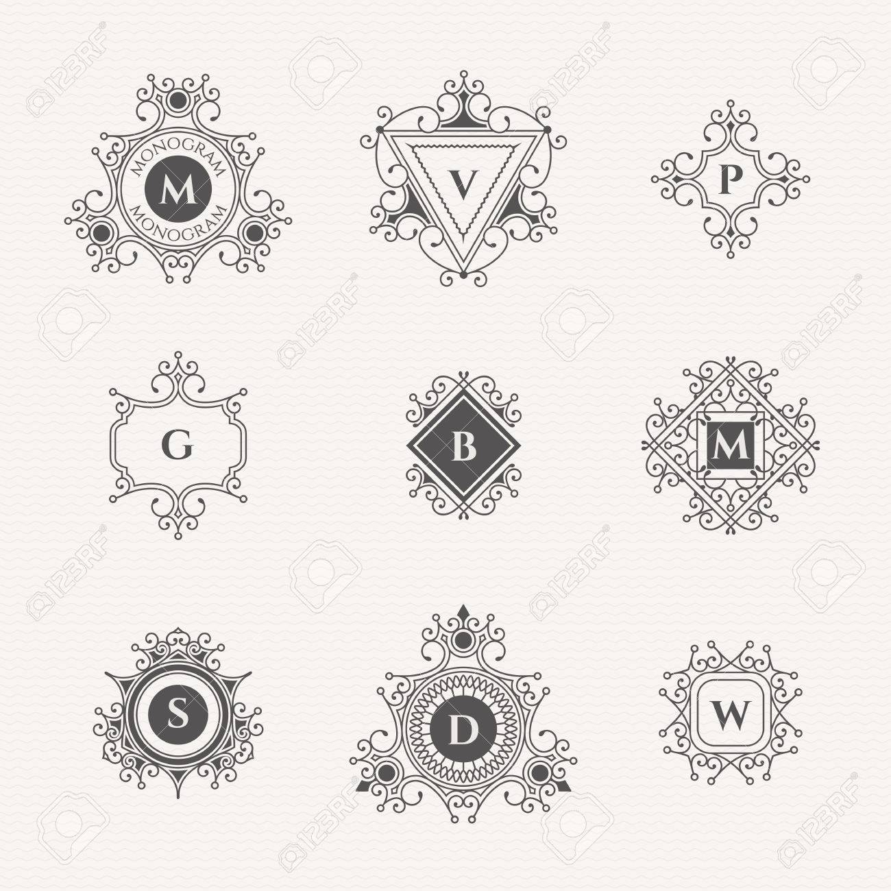 Set of decorative monograms. Design collection for labels, invitations, logos, banners, posters, badges, signage, stickers, cards. Graphic design page. - 50021833