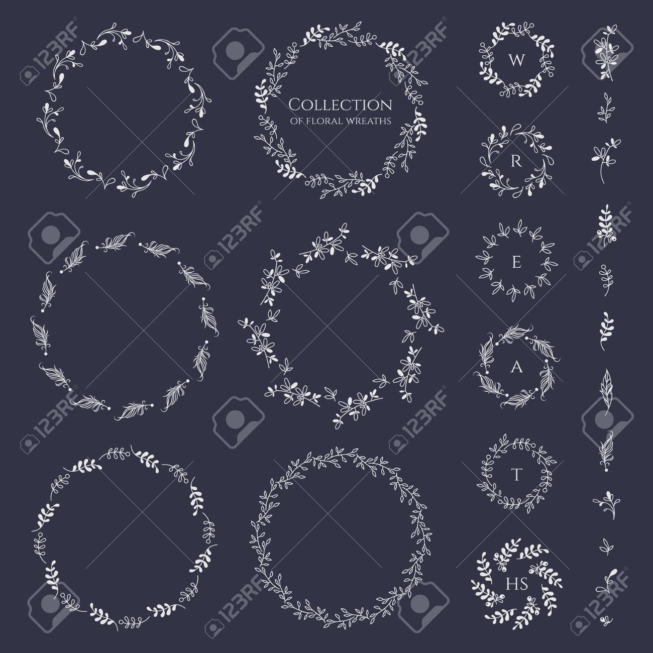 Collection of floral wreaths frames and monograms. Decorative elements for design invitation, cards, labels. Stylized twigs, feathers. - 50022227