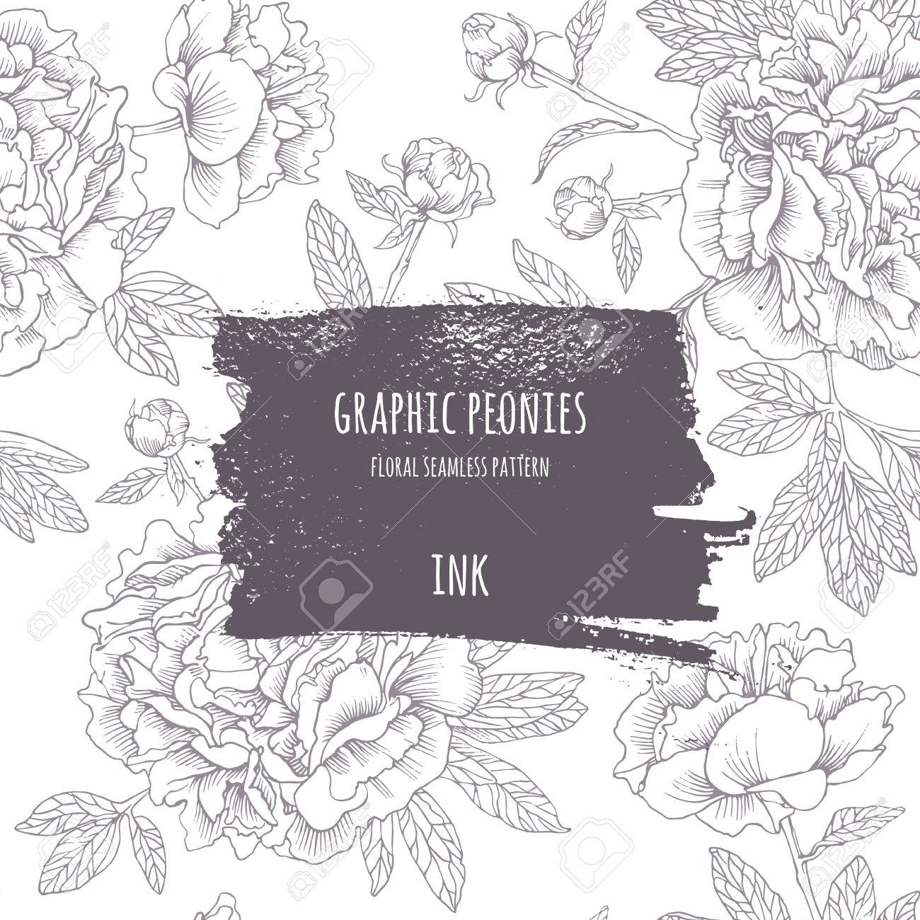 Hand-drawing pink peonies. Vector graphic flowers. Decorative background for cards, invitations. Template greeting card. Ink frame with seamless contour pattern. Brush drawn - rough, artistic edges. - 50179125