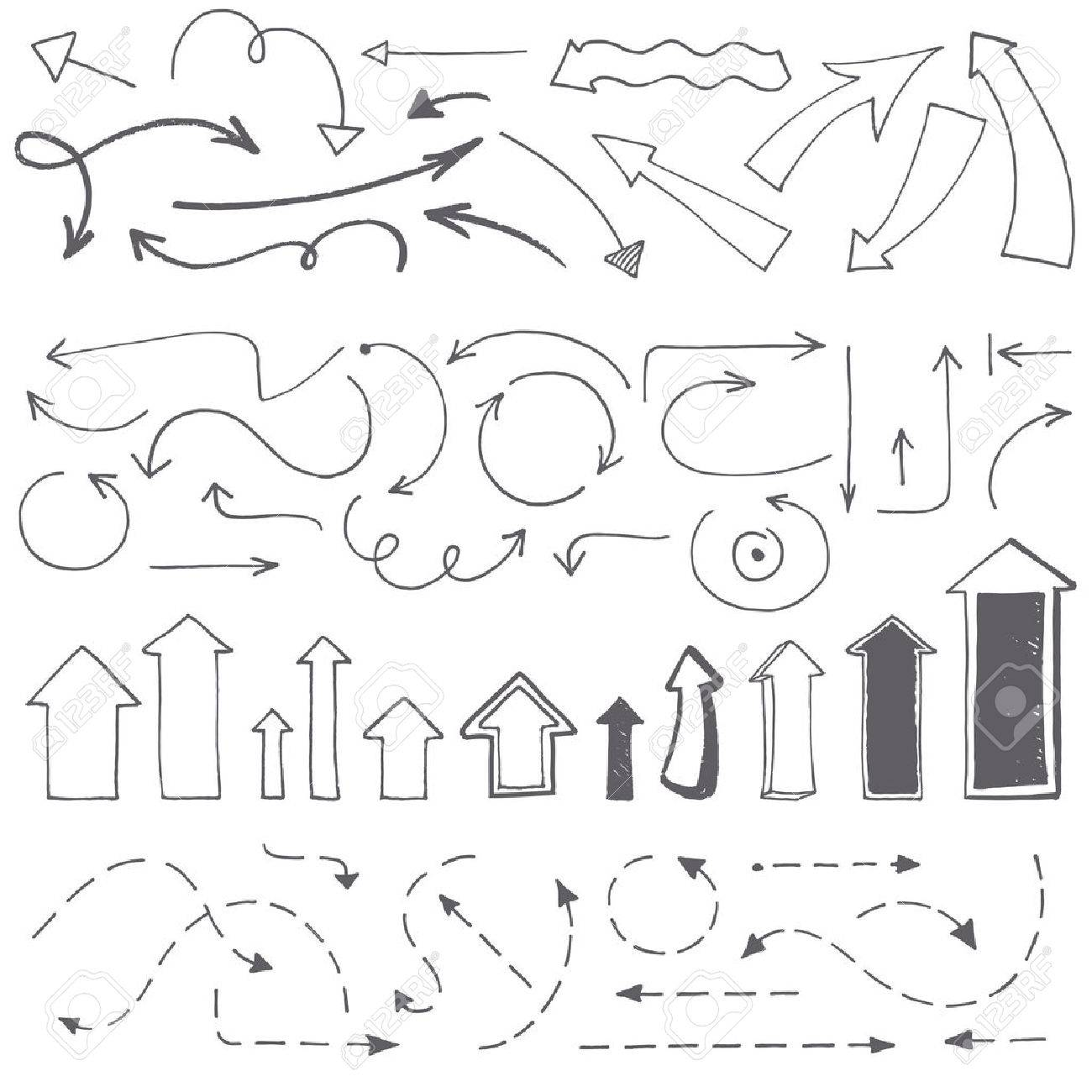 Hand drawn arrows set. Vector illustration. Collection of arrowheads - rough jagged edges. - 50179127