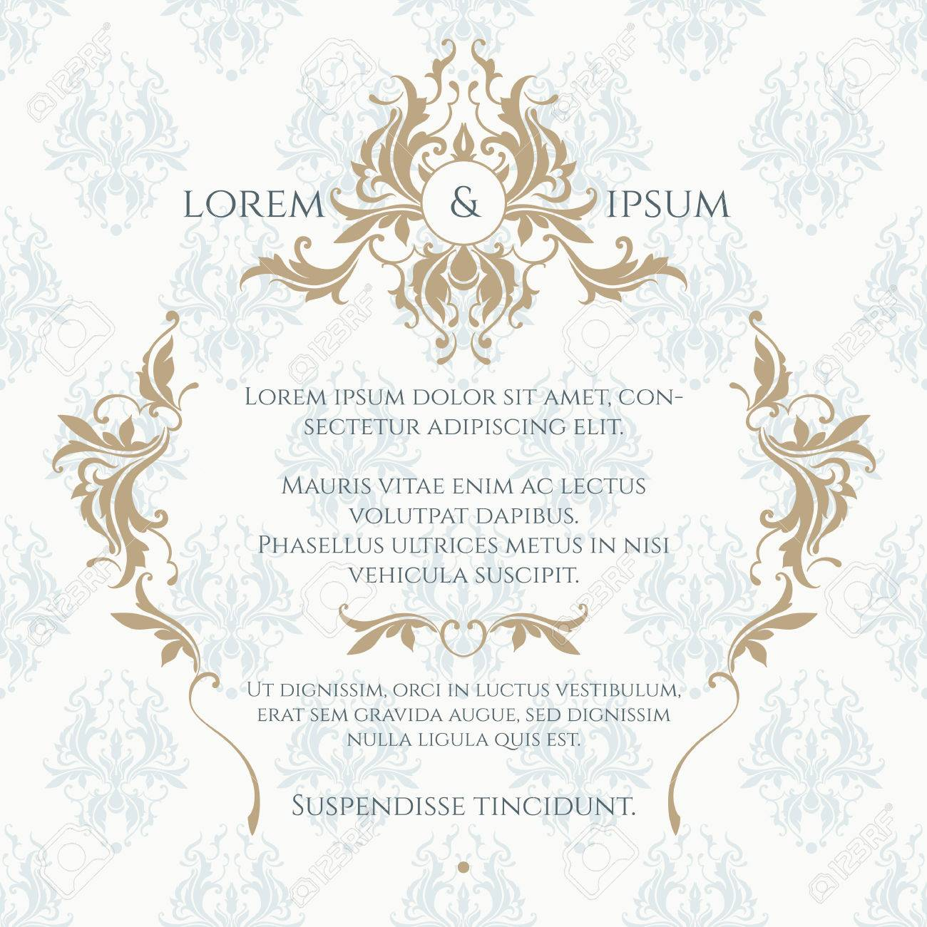 Monogram, border and classic seamless pattern. Floral ornament. Template for greeting cards, invitations, menus, labels. Graphic design page. Wedding invitation. - 50179132
