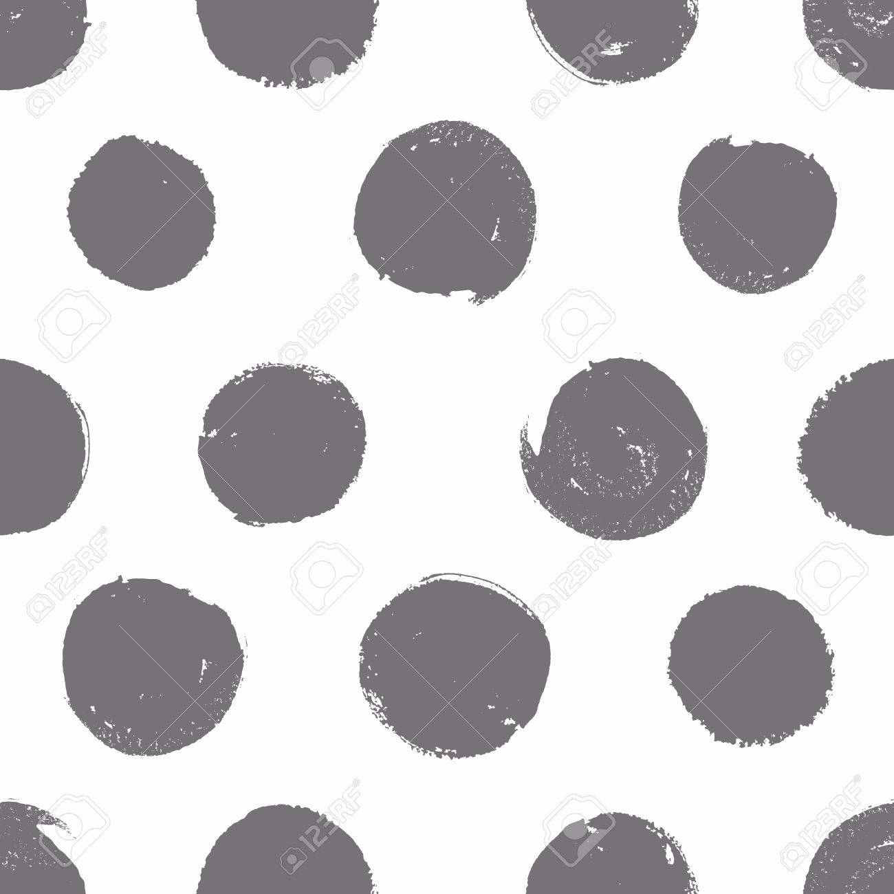 Seamless pattern. Background with painted circles. Vector texture. Brush drawn - rough, artistic edges. - 50179147