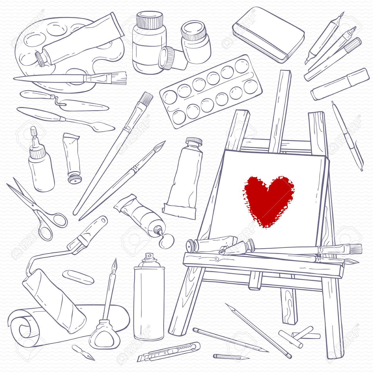 Set of art tools  Black and white objects  Line hand-drawing