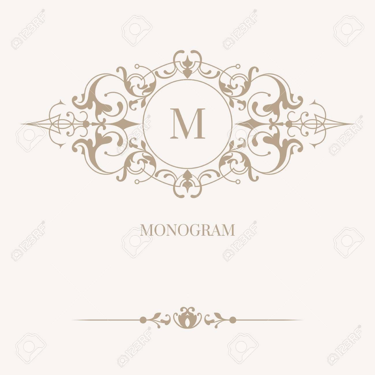 Monograma Floral Y Frontera. Ornamento Clásico. Plantilla Para Las ...